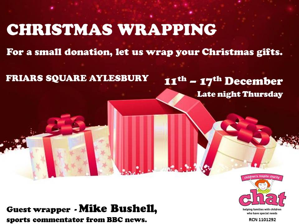 CHAT will be in Friars Square again this Christmas wrapping your presents